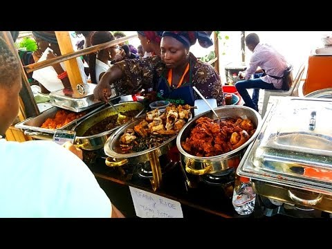 African food from Nigeria tasted in London streets. Street food