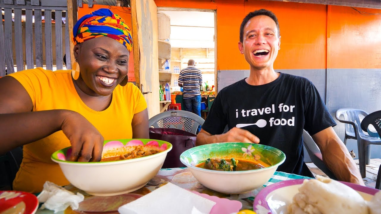 Street Food in Ghana – GIANT CHOP-BAR LUNCH and West