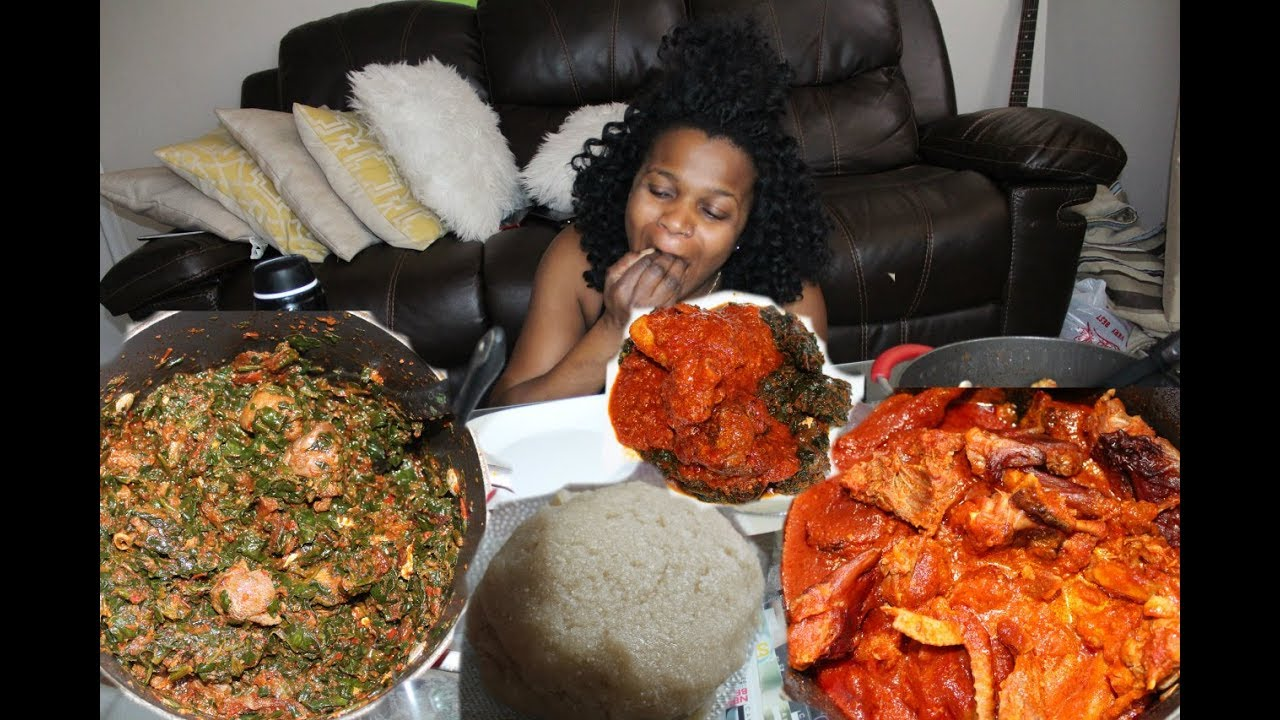 #4 NIGERIAN/AFRICAN FOOD [MUKBANG]: VEGETABLE SOUP WITH EBA AND CHICKEN