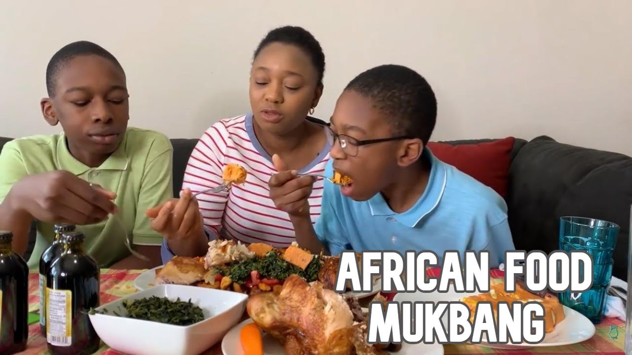 AFRICAN FOOD MUKBANG WITH MY KIDS