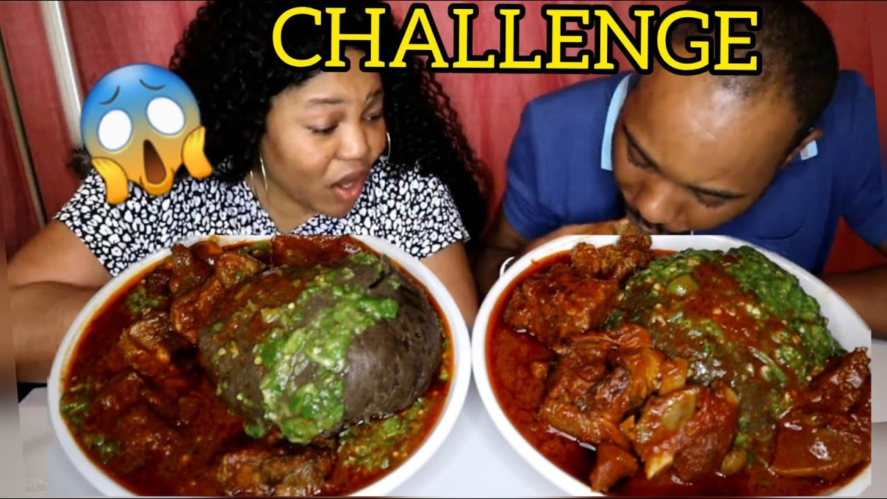 AMALA EATING CHALLENGE   SPICY NIGERIAN AFRICAN FOOD EATING COMPETITION