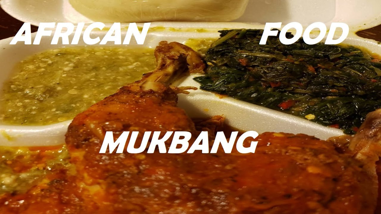 African Food Mukbang – Red stew with chicken, Fufu, spinach,