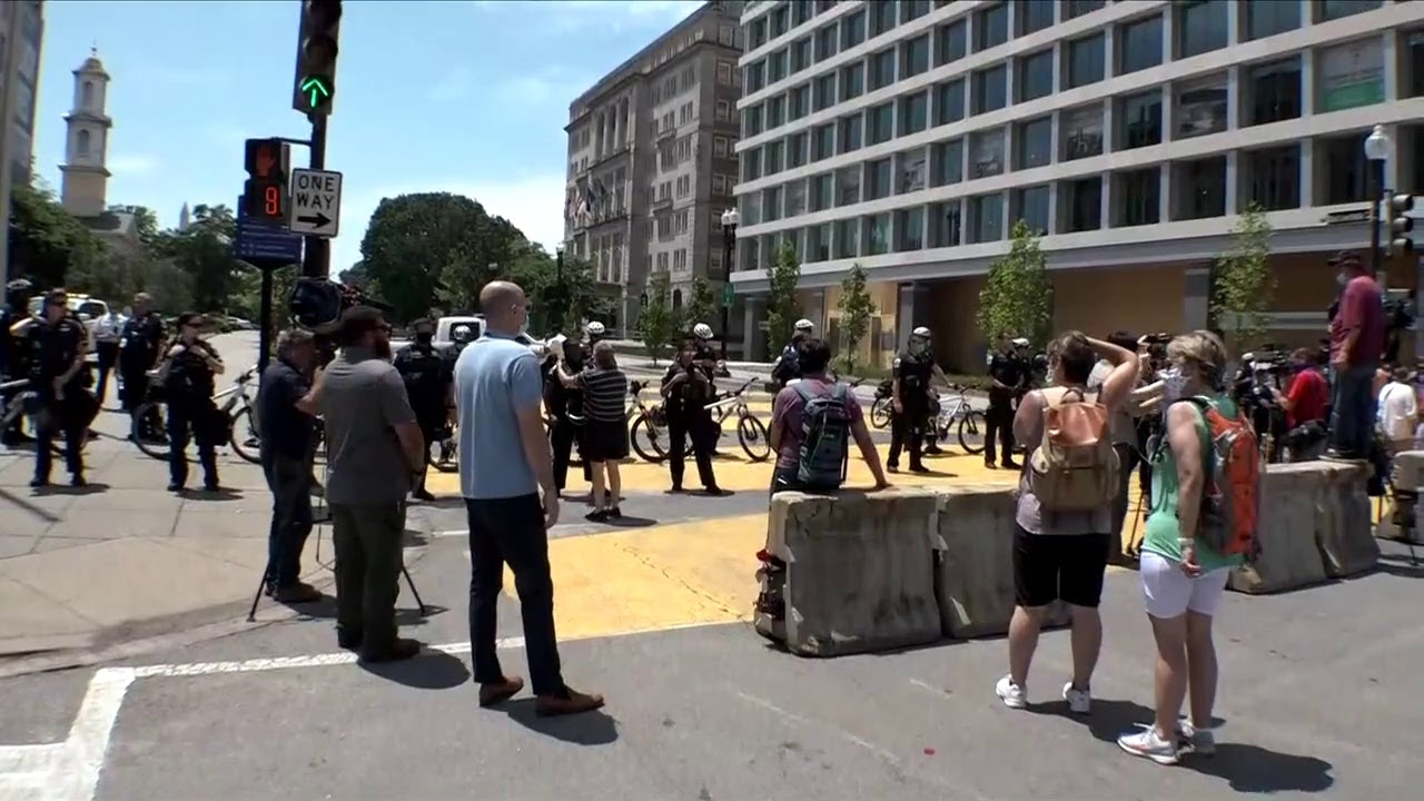 DC Protesters face-off with police at Black Lives Matter Plaza