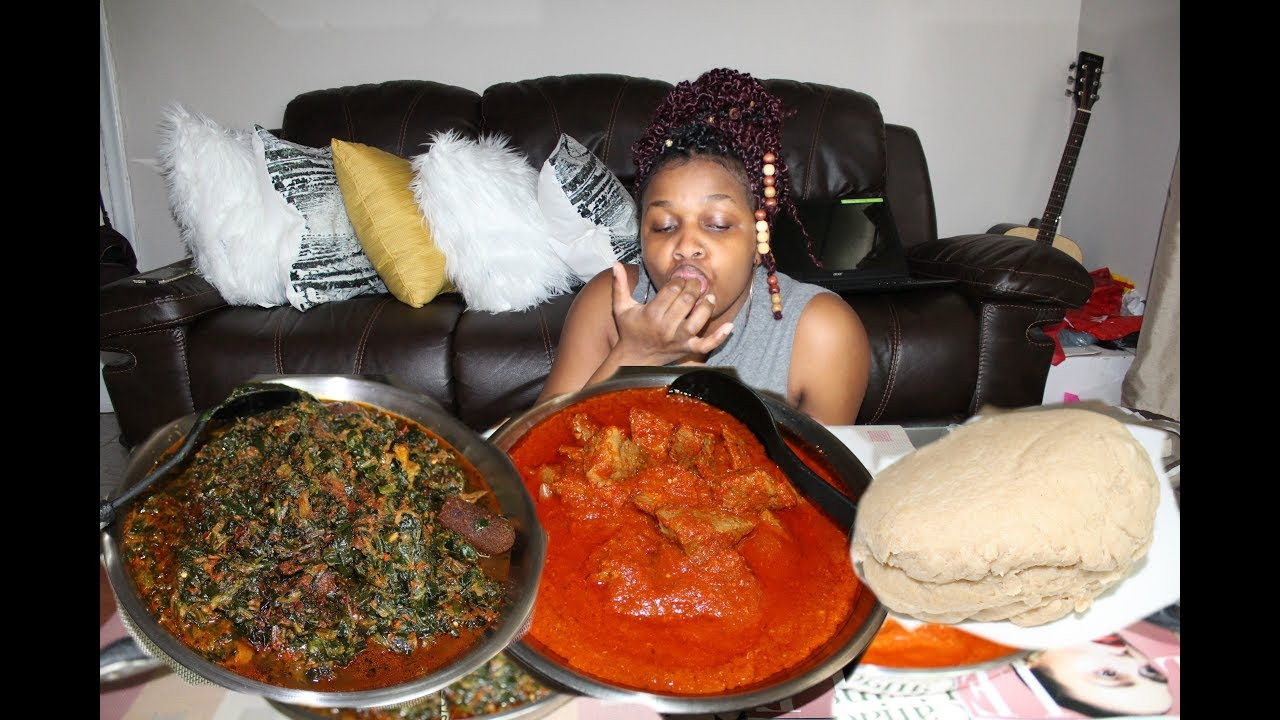 Gooey Nigerian/African Food Mukbang: Wheat Fufu, Red Beef Soup and