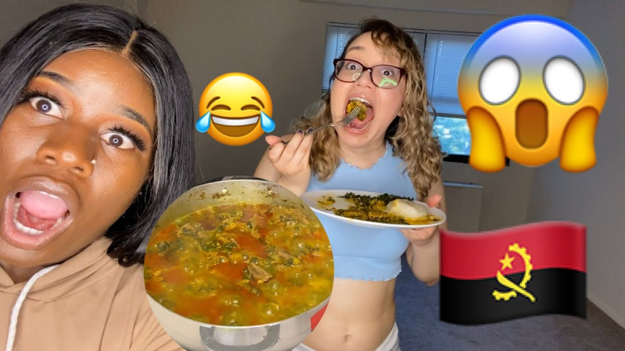 MY Spanish friend tries African food/ Angolan food for the
