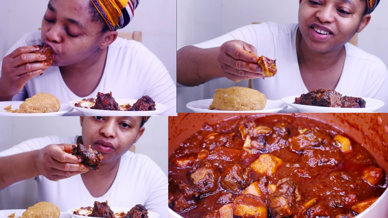 Mukbang | Nigerian African Food Mukbang | Mouth Watering Oxtail