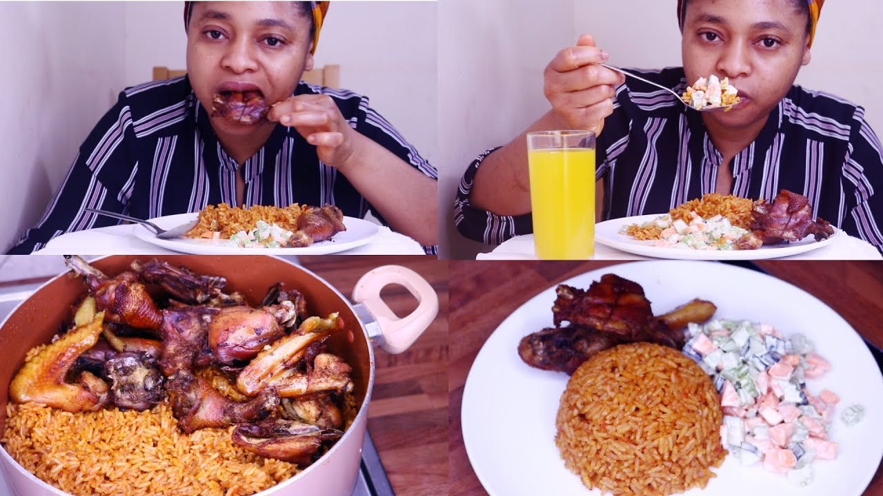 Mukbang | Nigerian African Food Mukbang | Smoky Party Jollof