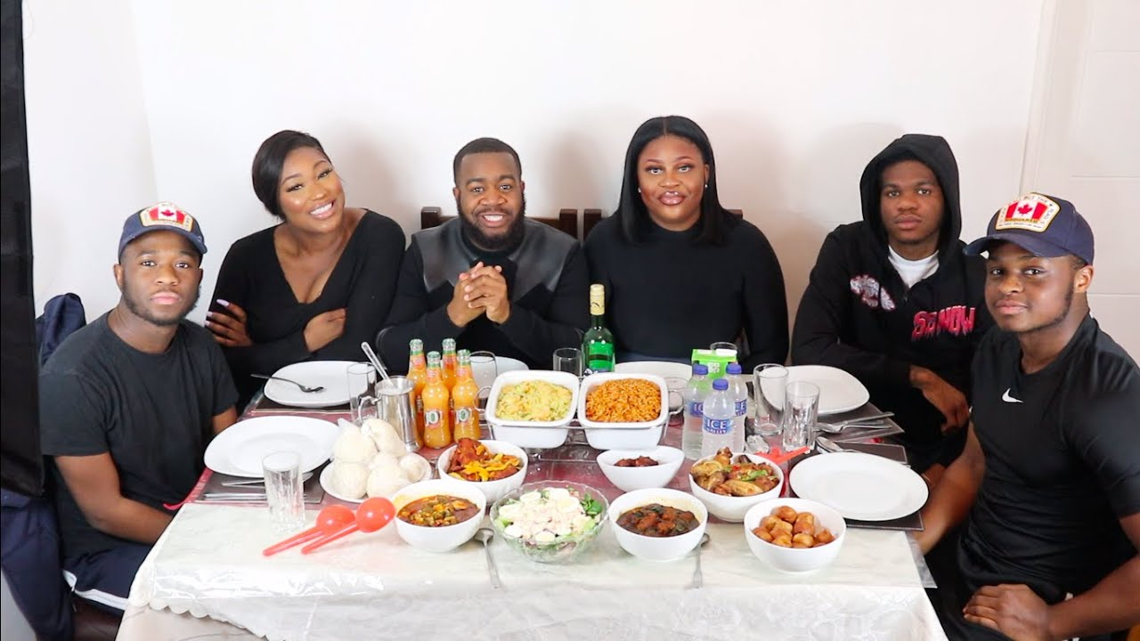 NIGERIAN/AFRICAN FOOD MUKBANG PART 1 (Nacuisine_catering) FT Slimzy, Funke, Nella,