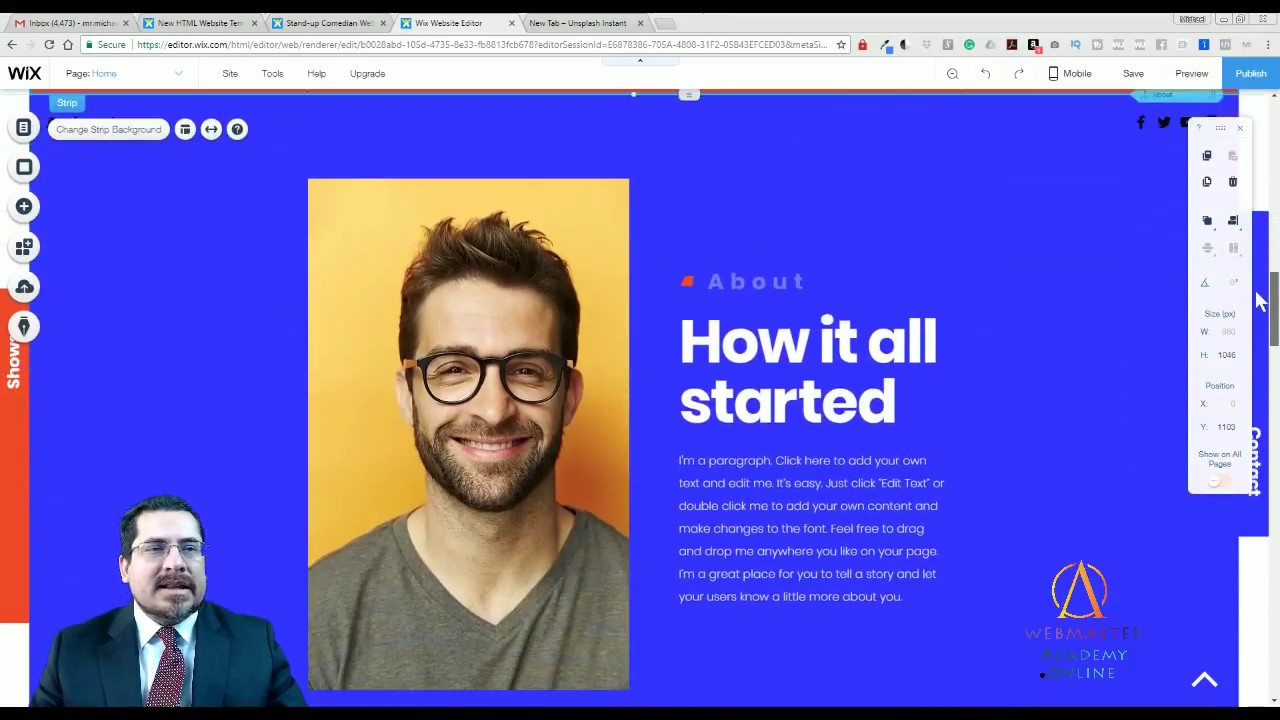 Stand-Up Comedian Template from Wix – Web Design – Tutorial