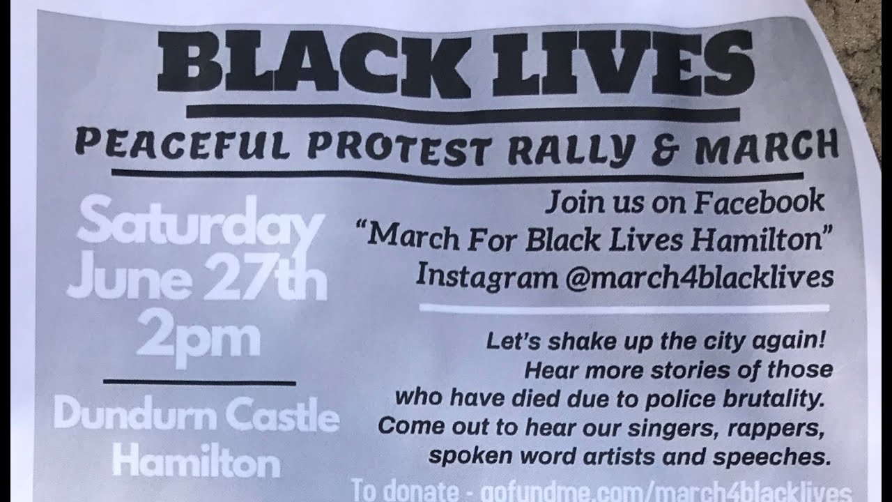 Black Lives Matter Hamilton March Saturday June 27, 2020
