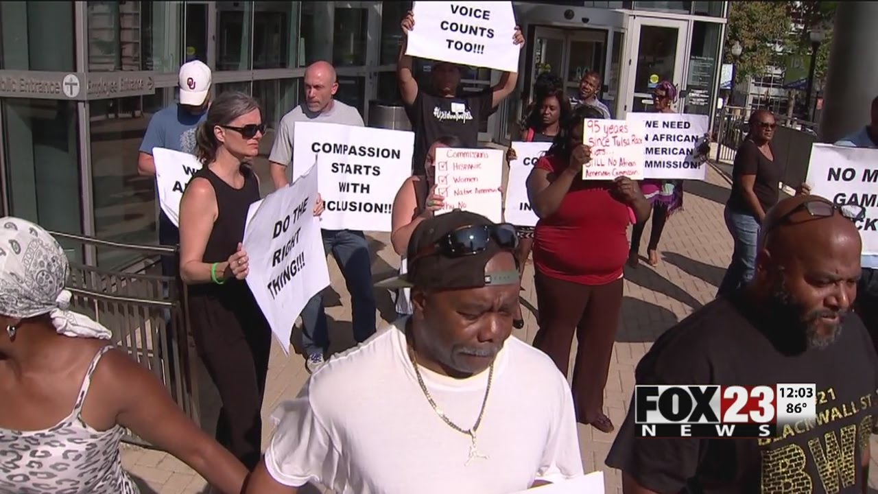 VIDEO: Protesters rally after cancellation of African American commission conversation